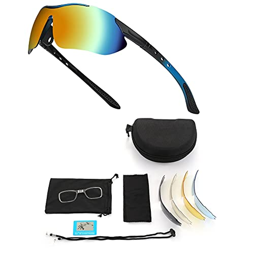 LVkele Polarizzati Occhiali Ciclismo,con 5 Lenti Intercambiabili Anti-UV400 per Uomo Donna,Occhiali Bici Occhiali Sportivi da Sole, per MTB Pesca Golf Guida (Bianco, Nero) (Nero)