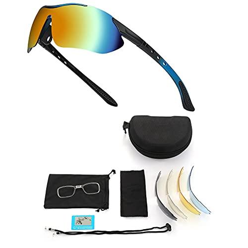 Gafas de Sol Polarizadas, Gafas de Ciclismo para Hombres y Mujeres, Gafas de Ciclismo con 5 Lentes Intercambiables UV400 Bicicleta Montaña, Gafas de Sol Deportivas,100% De Protección UV