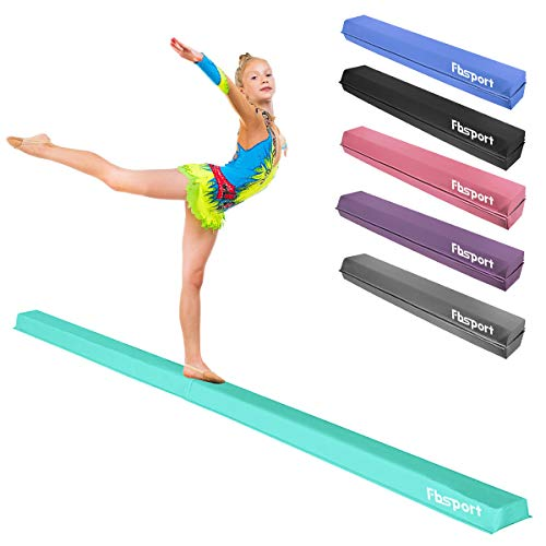 FBSPORT 8ft Balance Beam: Folding Floor Gymnastics Equipment PU Leather for Kids Adults,Non Slip Rubber Base, Gymnastics Beam for Training, Practice, Professional Home Training