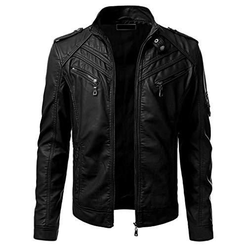 Landscap Men Winter Imitation Leather Jacket Biker Motorcycle Zipper Jacket Long Sleeve Coat Top Black