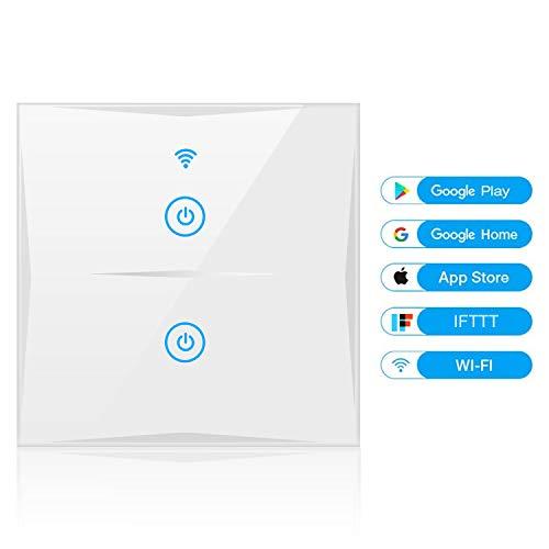 Wifi Smart Lichtschalter, YAPMOR WLAN In-Wall Schalter Kompatibel mit Alexa und Google Home, gehärtetem Glas Touchscreen, Steuern Sie Ihre Geräte von überall, kein Hub benötigt (2-weg)