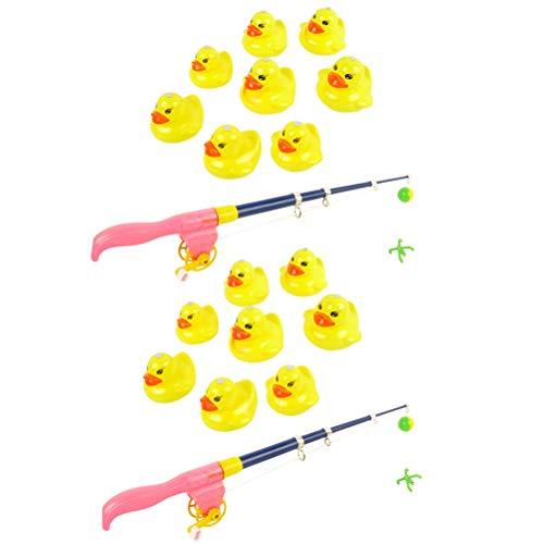 BovoYa 2 sätze Magnetisches Angelspielzeug magnetische gelbe Ente Angeln Spielzeug mit angelrute Kinder badespielzeug Pretend Play frühen lernspielzeug für Kleinkinder mit Fischen