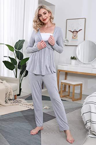 Hawiton Pijama de Lactancia Invierno Ropa Maternidad Hospital Premamá Conjuntos Embarazadas Algodón Mangas Largas Mujer