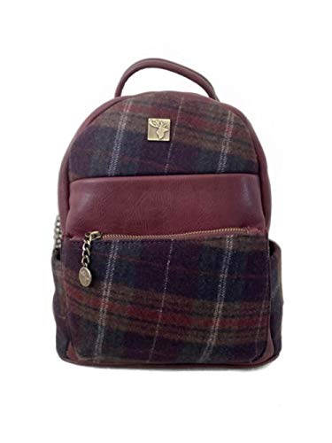 Ladies Tweed Backpack by House Of Tweed   Small Lightweight Rucksack Bag for Women   Irish/Scottish Tweed Tartan designs   Use as book or Ipad Bag, Work Bag or Stylish Backpack   Burgundy Grid