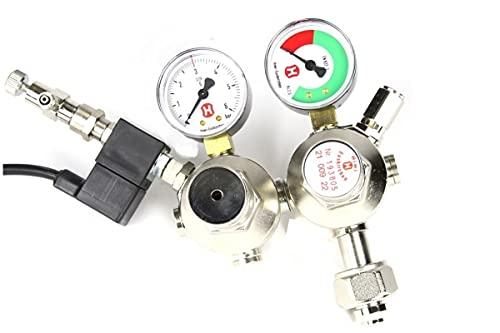 Hiwi Doppelkammer CO2 Druckminderer mit Magnetventil und Rückschlagventil Made in Germany Aquarium Nachtabschaltung