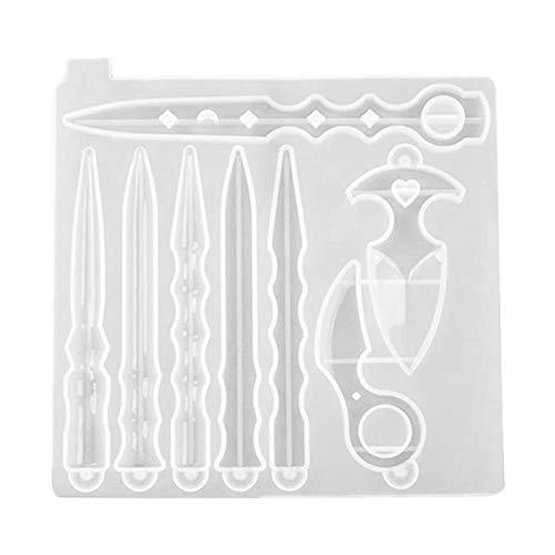 Llavero de resina molde de silicona molde de fundición DIY arte armas espada daga colgante molde de silicona estilo 1 10 piezas