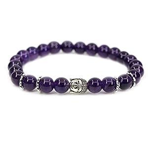 "Angelite 8mm Round Beads Stretch Buddha Bracelet 7"" Unisex"