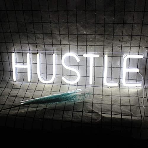 Hustle Word Letreros de neón Luces nocturnas Restaurante Juego Oficina Arte de la Pared Decoración Letrero Alimentado por Cable USB