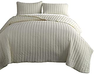 Chezmoi Collection Colin 3-Piece Channel Stitch Cotton Quilt Set (Antique White, Queen)