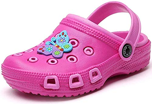 Kinder Clogs Pantoletten Gartenschuhe Mädchen Jungen Sandalen Hausschuhe Slip On Gartenclogs Outdoor Flach Geschlossene Strand Sandale Schuhe Sommer Pink(Funny) 25 EU/26CN