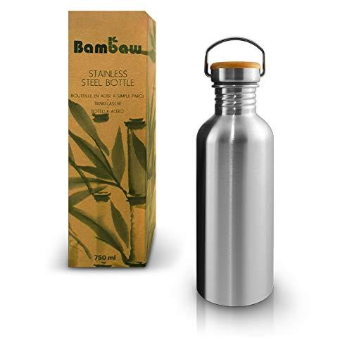 Bambaw Botella de Agua de Acero Inoxidable, Reutilizable, Mantiene la Temperatura, Botella de 1L