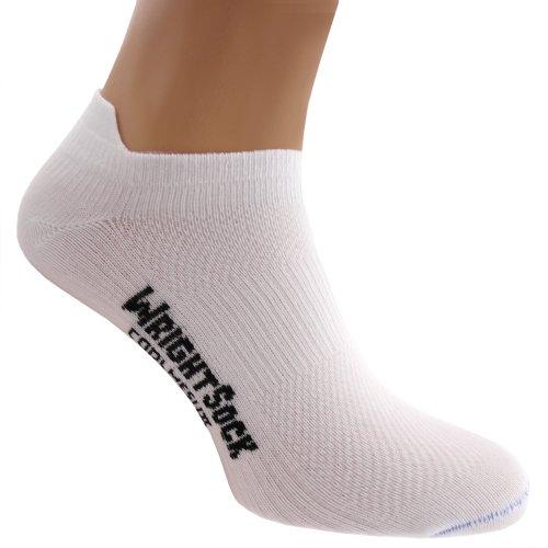 Wrightsock Profi Sportsocke, Laufsocke, Sneakers Modell Coolmesh II in weiß, Anti-Blasen-System, doppel-lagig, Low Tab kurz, Gr. L