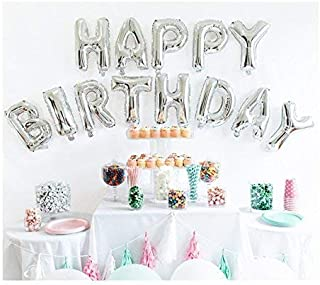 OSG Crafters Happy Birthday Letter Foil Balloons (Graceful Silver, 16 Inches) - Pack of 13 Letters