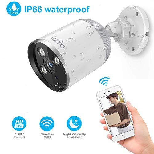 WZTO Cámara de Vigilancia para Exteriores, Cámara IP Wi-Fi HD 1080P Inalámbrica Visión Nocturna por Infrarrojos de hasta 98 Pies con Detección de Movimiento Impermeable, Tarjeta SD 128G