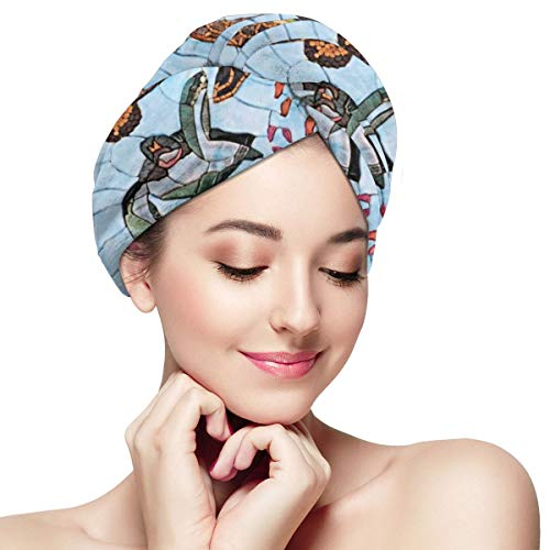 Sea Turtle Stone Painting Dry Hair Cap Microfibre Hair Towel Wraps Ultra Absorbent Quick Dry Twist Turban with Button for Drying Curly Long Thick Hair 11¡± X 28¡±