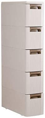 Feibrand 5 Storage Drawers Rolling Cart Organizer Plastic Drawers Unit on Wheels Tower Narrow Slim Container Cabinet for Bath