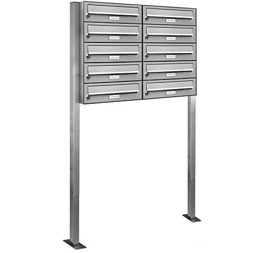 AL Briefkastensysteme 10er Edelstahl Standbriefkasten rostfrei als 10 Fach Briefkastenanlage DIN A4 in Postkasten Briefkasten Design modern