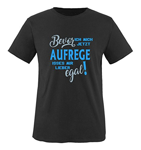 Comedy Shirts - Bevor ich Mich jetzt Aufrege isses Mir Lieber egal! - Herren T-Shirt - Schwarz/Blau-Eisblau Gr. 5XL