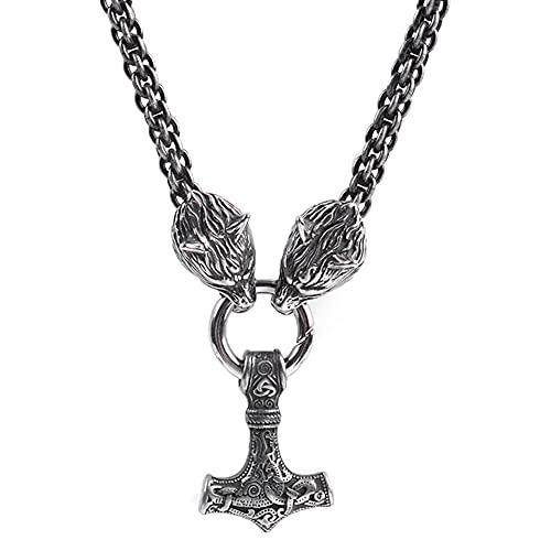 Collar Vikingo para Hombre, Colgante de Martillo de Thor, Cadena de Cabeza de Lobo de Acero Inoxidable, con Bolsa de Joyería Valknut,60cm