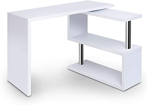 Artiss Home Office Computer Desk with 360°Rotation Bookshelf Workstation Study Gaming Table White