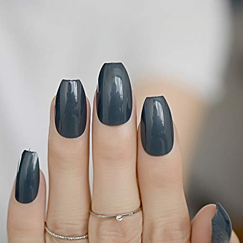 EchiQ Faux ongles verts noirs en forme de ballerine - Forme plate - Couverture complète - Outil de manucure