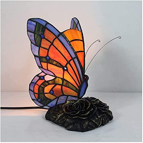 YHQKJ Lámpara de Mesa Tiffany, lámpara de Mesa de Mariposa Creativa Pastoral de Manchas, luz de Noche for niños for Dormitorio, 20 cm