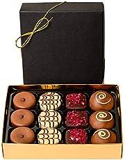 Belgisk chokladask med 12st handdekorerade praliner i exklusiv presentask