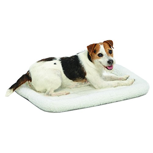 24L-Inch White Fleece Dog Bed or Cat Bed w/ Comfortable Bolster |...