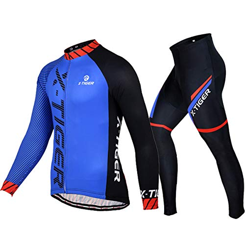 X-TIGER Men's Cycling Jersey Set Long Sleeve,Biking Jersey+5D Gel Padded Pants,MTB Road Bike Bicycle Clothing Set (No Fleece Bluered, X-Large)