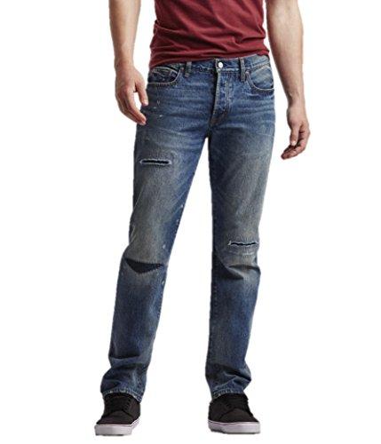 Aeropostale Mens Straight Medium Rip Repair Jeans 38x32 Blue