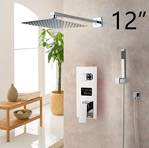 FYMIJJ Dusch-Set, Badezimmer-Duscharmatur mit 3 Funktionen, digitales Duscharmaturen-Set mit Chrom-Finish, LED-Duschkopf, Mischbatterie, Wand 30,5 cm