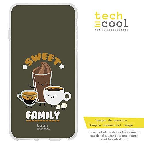 Funnytech Cover Samsung Galaxy S6 Edge Custodia in Silicone (TPU) per Samsung Galaxy S6 Edge [Design Esclusivo, Stampa ad Alta Definizione] [Frase Sweet Family Coffe Oscuro]