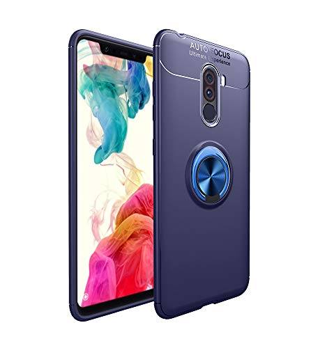 LAGUI Funda Adecuado para Xiaomi Pocophone F1, Super compacta y al Tacto Muy Fina Silicona Carcasa con Anilla Posterior, Soporte de Montaje Magnético del Coche Funda Especial, Azul+Azul