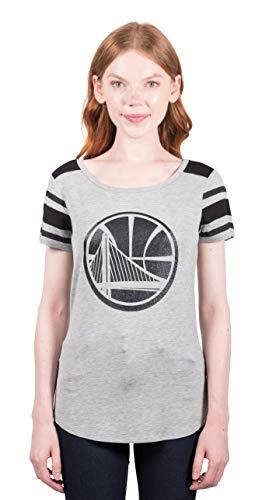 NBA - Camiseta de mujer con diseño a rayas con logotipo de equipo universitario, color gris - FTL1477F-GW-Large, Large, Heather Gray