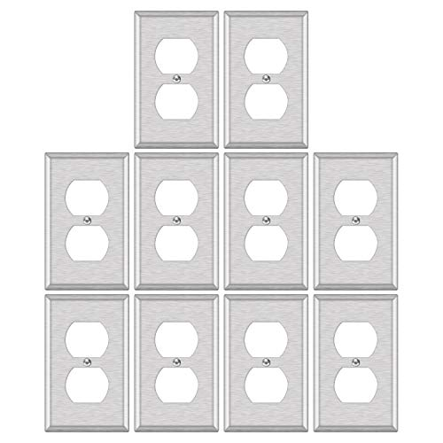 10 Pack - ELECTECK 1-Gang Metal Duplex Wall Plate, Non-corrosive Stainless Steel Light Switch Outlet Cover, Standard Size 4.52 x 2.77, Silver