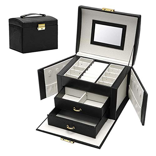 Andifany Jewelry Box Large Capacity Earrings Necklace with Mirror Watch Jewelry Drawer Storage Box Necklaces Velvet Lining Black