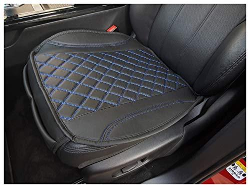 Funda de asiento de piel sintética negra con costuras azules para Lancia Voyager OT406