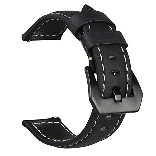V-MORO Samsung Gear S3 Frontier/Classic Watch Armband Galaxy Watch 46mm Armband, Echtes Leder Ersatzband Uhrenarmband für Samsung Gear S3 Frontier/Classic Watch (Leder Schwarz)