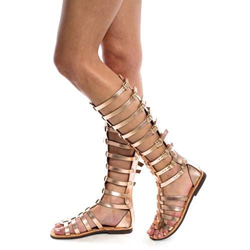 Dasongff Schuhe Sandalen Damen Gladiator Römisch Sandalen Sommer Strand Sandals Riemchensandalen Knie Hohe Stiefel Peep Toe Sandalen Schnürschuhe Elegant Kniehohe Freizeitsandalen