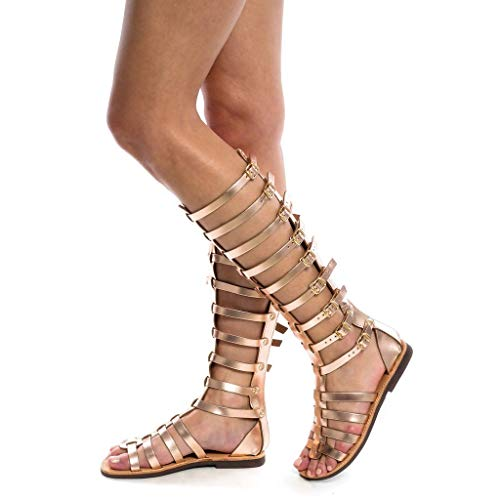 95sCloud Damen Gladiator Sandalen Flach Schuhe Sommerschuhe Knie hohe Stiefel Retro Kniehoch Peep Toe Sandalen Römersandalen Reißverschluss Strandschuhe Schnürschuhe Freizeithose (Gold, 38)
