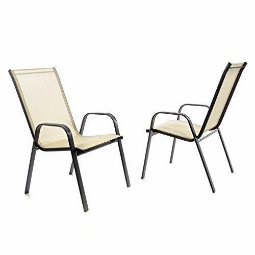 Nexos 2er Set Gartenstuhl Stapelstuhl Balkonstuhl Hochlehner Stahl-Rahmen schwarz Textilene creme Terrasse Stahlstuhl 55x72x97 cm bis 110 kg stapelbar witterungsbeständig mit Armlehne