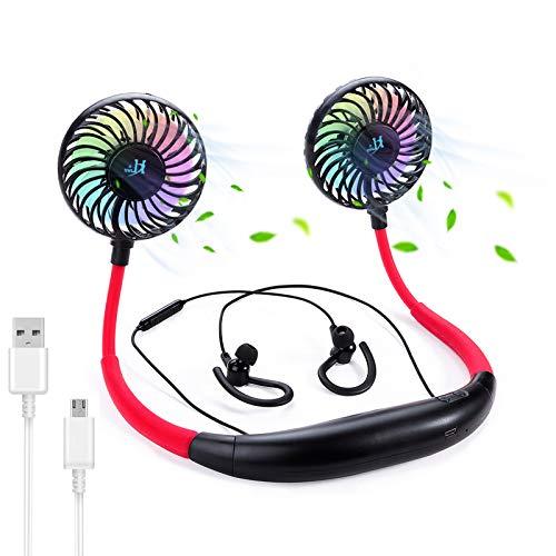 Collar con manos libres con USB recargable, auriculares Bluetooth para cuello, rotación libre de 360 grados, ventilador de cabeza de refrigeración portátil personal para deportes aire libre viajes
