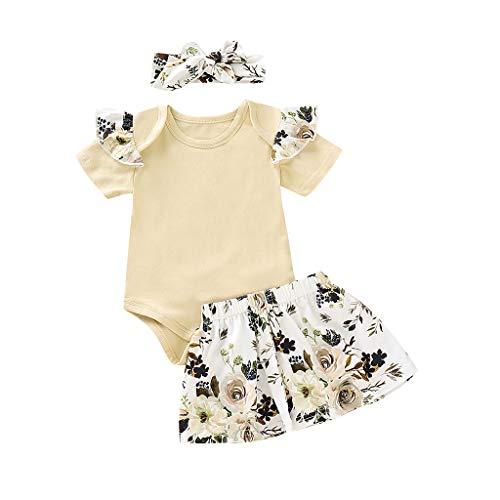 WUSIKY Sommerkleid Infant Baby Mädchen Einfarbig Jumpsuit + Blumendruck Röcke + Stirnbänder Outfits Outfit Minirock Hoop Rock Unterrock Kleid Tüll Unterrock Kinder Geschenk(90,Weiß)