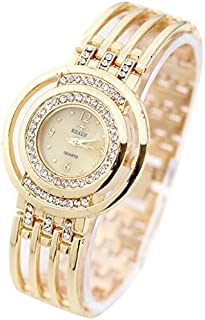 Fashion Women Round Dial Diamond Plated Alloy Hollow Bracelet Quartz Watch(Gold) personality (Color : Gold)