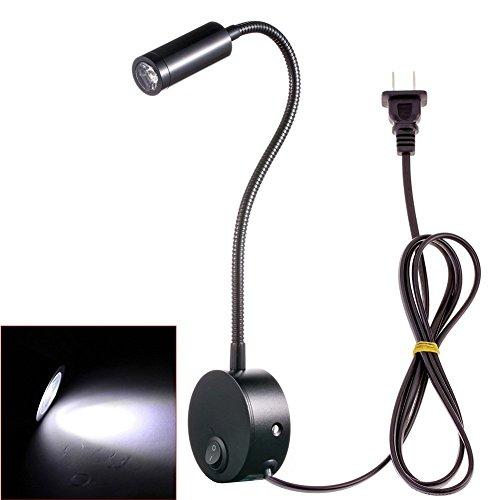 Hangang LED Lampen Wand-Lesung flexibel, 3 W eReader Nachttischlampe modernen Design für Kinder Erwachsene Die Schlafzimmer, geeignet für die Lesung, Malerei, Schreiben (schwarz kaltweiß)