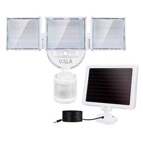 SOLLA LED Außenstrahler mit Solar-Panel und Bewegungs- Dämmerungssensor, 2000 Lumen, 5000K, IP65, für Garten, Hof und Garage I Solarlampe für Außen I Außenlampe I Außenleuchte
