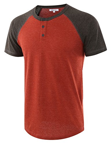 Vetemin Men's Casual Short Sleeve Raglan Henley T-Shirts Baseball Shirts Tee H.Rusty/H.Charcoal S