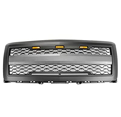 ZMAUTOPARTS Mesh Style Front Upper Hood Grille Grill Matte Black w/Amber Signal Light For 2014-2015 Chevy Silverado 1500