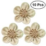 OULII 10pcs arpillera encaje flores de yute rosas flores para bricolaje manualidades decoración de boda fiesta