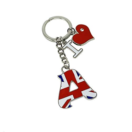 Sterling Product, Llavero Personalizado de Acero Inoxidable con la Letra X de la Bandera británica.